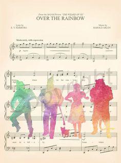Wizard of Oz Watercolor Sheet Music Art Print #artprint #music #homedecor #wallart #kids #gifts #famliy #kidsroom #prints #art #fineart #etsy #Disney #wizardofoz
