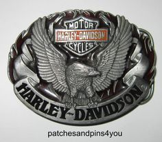 Harley Davidson Motorcycles Eagle 0-88 Pewter   Enamel Harmony Belt Buckle.  CeintureMotos Harley DavidsonBoucles ... a025426da5d