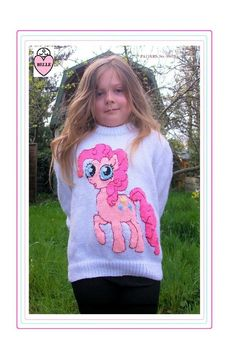 My little pony Pinky Pie Child's jumper. by KnittingPrettily Knitting Patterns Boys, Jumper Patterns, Baby Cardigan Knitting Pattern, Knitting For Kids, Double Knitting, Knitting Yarn, Girls Jumpers, Girls Sweaters, Baby Sweaters
