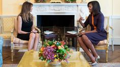 Melania Trump sports a Black dress while meeting with Michelle Obama at the White House