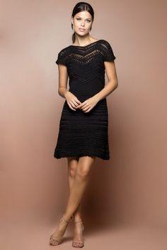 Vestido Crochet Queen Preto - Vanessa Montoro - vanessamontoro