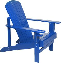 Amazon.com : Natural Wood Adirondack Chair By Trademark Innovations (Blue)  : Patio