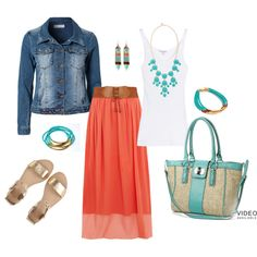 coral and turquoise  Polyvore