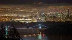 A view of Vancouver from West Vancouver. Vancouver Skyline, Vancouver City, Vancouver Photos, Lions Gate, Canadian Girls, Canada, City Lights, Night Time, Beautiful