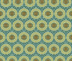 Perfect for the pocket doors/room dividers if we go midcentury modern - Nouveau in Sea of Green fabric by bradbury_