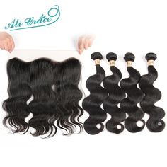 144.55$  Buy here - http://aliq1x.worldwells.pw/go.php?t=32725645308 - Ali Grace Hair Brazilian Virgin Hair With Lace Frontal 8A Unprocessed Brazilian Body Wave 4 Bundles With Lace Frontal Closure