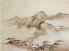 李楨, 山水圖─12면 중 제4엽, 17세기초, 화첩, 종이에 수묵, 각각 19.1×23.5㎝, 國立中央博物館 Yi Chŏng : Landscape(Fourth Leaf), Ink on paper, Joseon period(early 17th)