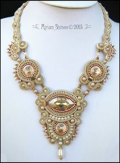 Caramel Cream Soutache Swarovski necklace by MiriamShimon on Etsy, $225.00