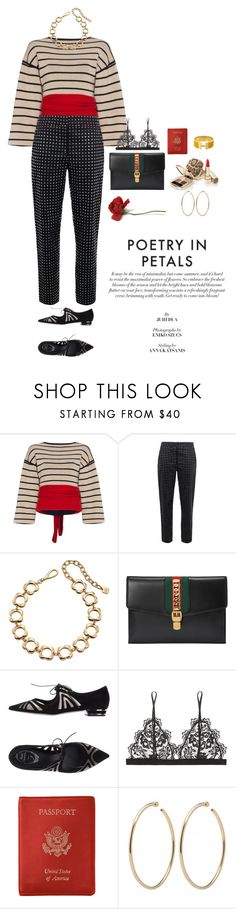 """""""Baby sometimes I feel so naive thinking you would come back to me"""" by lalaloveamanda11 ❤ liked on Polyvore featuring Rosie Assoulin, Moschino, Orla Kiely, Gucci, René Caovilla, Anine Bing, Dolce&Gabbana, Royce Leather and Hermès"""