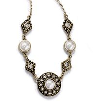 Vintage Style Pearlesque Collection Necklace.  Faux pearls with rhinestone accents in burnished brass setting.  Regularly $12.99, buy Avon Jewelry online at http://eseagren.avonrepresentative.com