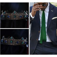 Blue and green crown, Man Medieval Crown Headdress crown, Party crown,... (£57) ❤ liked on Polyvore featuring accessories, hair accessories, head wrap headbands, crystal hair accessories, tiara crown, crystal crown and crown headband