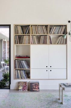 Library - Maison - Décoration - Home - Interior - Vinyl Storage, Record Storage, Built In Storage, Storage Units, My Living Room, Home And Living, Living Spaces, Home Interior, Interior Architecture