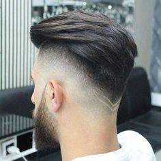 Drop Fade Haircut with V-Shaped Neckline