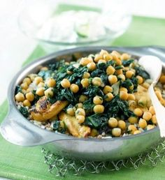 Chick pea and chicken with spinach   #Spinach  #Chicken