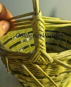 Плетение из газетных трубочек: Ручка для корзин, один из вариантов плетения. Ручка стабильная. Косичка. Колосок.: