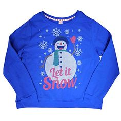 Holiday Time Womens Blue Snowman Let It Snow Holiday Pullover Sweatshirt Top L