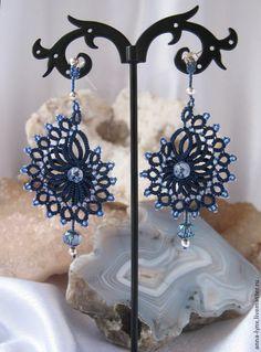 """Сережки """"Северное море"""" - тёмно-синий,авторские серьги купить,кружевные серьги"""