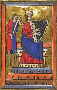 FIDDLE AND HARP   David and Musician playing fiddle..13th cent. England. Psalter. Lansdowne 420 BL King David can be identified by his symbolic attributes: a crown and harp.