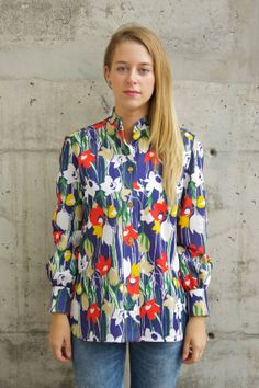 Bold Flowers Long Sleeve Vest / Vintage by LesOubliettes on Etsy, $21.00