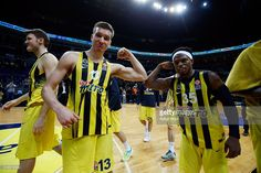 Bogdan Bogdanovic, #13 of Fenerbahce Istanbul and Bobby Dixon, #35 of Fenerbahce Istanbul celebrate victory during the 2015-2016 Turkish Airlines Euroleague Basketball Top 16 Round 13 game between Fenerbahce Istanbul v Anadolu Efes Istanbul at Ulker Sports Arena on April 1, 2016 in Istanbul, Turkey.