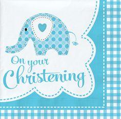 Blue Elephant On Your Christening Napkins - 18pk