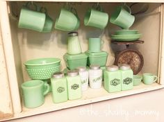 "85 Likes, 13 Comments - Nicole (@the_shabby_mommy) on Instagram: ""My husband knows the way to my heart is with jadeite lol! New shakers were just part of my…"""