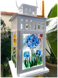 Fused Glass Lantern-Flower Garden-hydrangea, sunflowers, poppies, and lavender Sea Glass Art, Fused Glass, Stained Glass, Broken Glass Art, Glass Paint, Hydrangea Garden, Hydrangeas, Glass Fusing Projects, Fusion Art