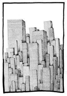 "Saatchi Online Artist: Toni Le Busque; Pen and Ink, 2008, Drawing ""City"""