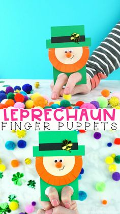 Patrick's Day Craft - DIY Finger Puppets are the definition of fun for kids! Grab our leprechaun finger puppets template to make this easy St. Patrick's Day craft for kids. St Patrick Day Activities, Craft Activities For Kids, Preschool Crafts, Projects For Kids, Simple Projects, Garden Projects, Summer Activities, Saint Patricks Day Art, St. Patricks Day
