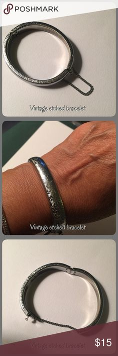 Vintage silver tone etched bracelet Vintage silver tone etched bracelet with safety chain, no hallmark Vintage Jewelry Bracelets