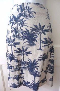 Caribbean Joe Hawaiian Skirt Women's 12 White with Blue Palm Trees 100% Linen #CaribbeanJoe #ALine