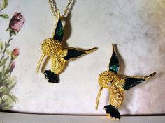 1970s Green and Blue Enamel Hummingbird Set - Gold Tone Necklace and Matching Brooch by CarolsVintageJewelry on Etsy