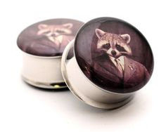 Raccoon Tycoon Picture Plugs gauges - 8g, 6g, 4g, 2g, 0g, 00g, 7/16, 1/2, 9/16, 5/8, 3/4, 7/8, 1 inch