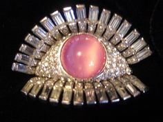 "VTG MAZER BROS signed surreal ""Eye"" and Lashes brooch pin Salvador Dali inspired"