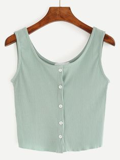 Buttoned Front Ribbed Knit Crop Tank Top - Green Mobile Site