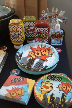 Themed table at a Superhero Birthday Party! See more party ideas at CatchMyParty.com!