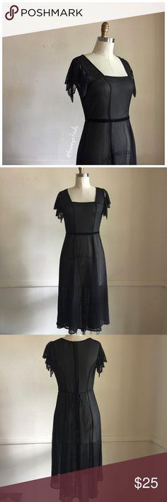 • band of gypsies black sheer dress • nostalgic vibe • sheer • velvet strip at waist • lace cap sleeves • back zipper Band of Gypsies Dresses Midi