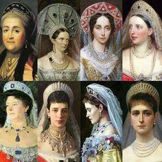 Ladies of the romanov house wearing kokoshniks.