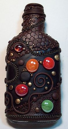 Polymer clay and glass flask front 2