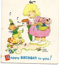 BIRTHDAY GREETINGS CARD GIRL DOLL FAIRIES
