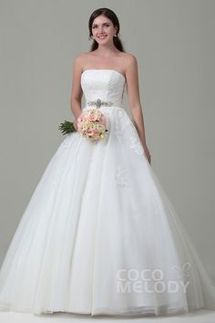 Luxurious+A-Line+Strapless+Natural+Chapel+Train+Tulle+and+Lace+Ivory+Sleeveless+Lace+Up-Corset+Wedding+Dress+with+Appliques+Beading+and+Sashes+h2pn0153
