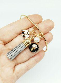 Charm Bracelets – Bracelet Open, Charms,Leather Tassel Grey – a unique product by birdofparadise97 on DaWanda