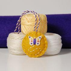 Wool Felt Scissor Fob - Straw & Purple Butterfly on Gold   Flickr - Photo Sharing!