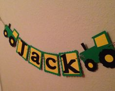 Green and yellow John deere tractor name banner by pinktreepapers Tractor Birthday, Baby Boy Birthday, Farm Birthday, Diy Birthday, First Birthday Parties, Birthday Party Themes, Birthday Ideas, Barnyard Party, Farm Party