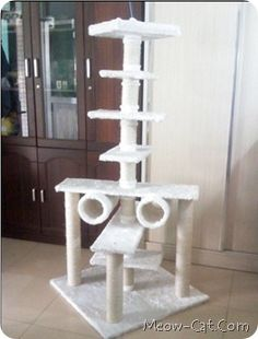 how to build a cat tree condo house - Meow-Cat.com #cat #hammock - Catsincare.com
