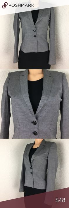 Boss by Hugo boss navy check blazer wool Sz US 2 BOSS by Hugo Boss navy check blazer. Navy with an element of white check.  Wool blend. Fully lined in navy.  Double button closure. Excellent condition. Measured flat... chest 16' waist 14' length 24' arm inseam 18. Hugo Boss Jackets & Coats Blazers