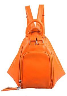 Orange Tassel Cotton Lining PU Leather Backpack