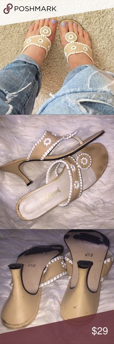 Jack Rogers cream white low heel sandals 8 1/2 These are definitely pre-loved and could benefit from some polish – but they look way better on and there's a lot of life left. Please look at all pictures. 😊 size 8.5 Jack Rogers Shoes Sandals
