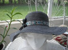 Black and Silver Mesh Floppy Women's Hat by Donellensvintage, $38.00