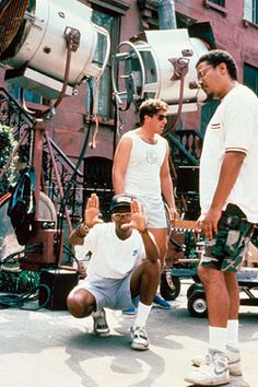 """Spike Lee on the set of """"Do The Right Thing."""" 1989"""